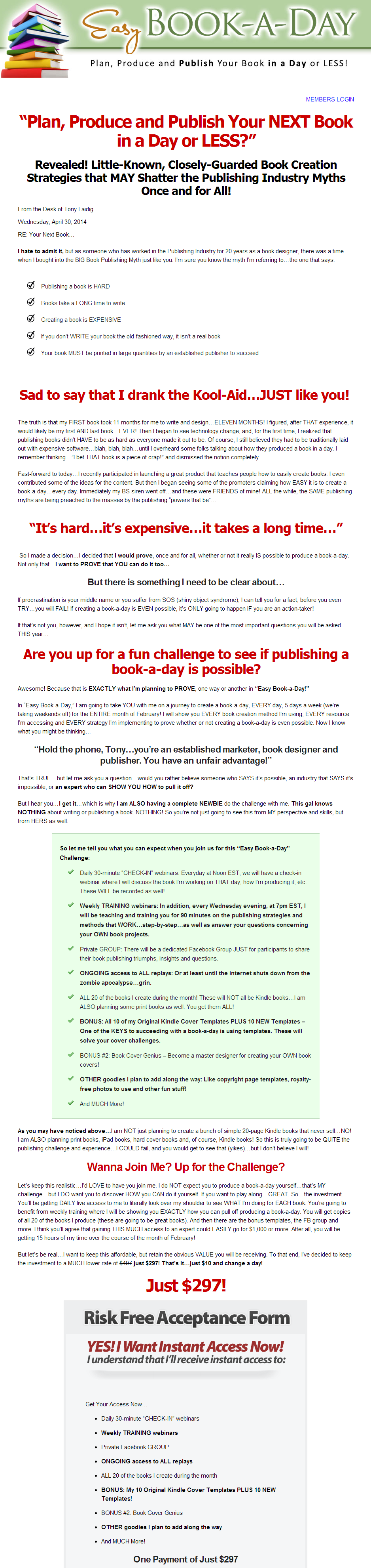 Tony Laidig – Easy Book A Day Price