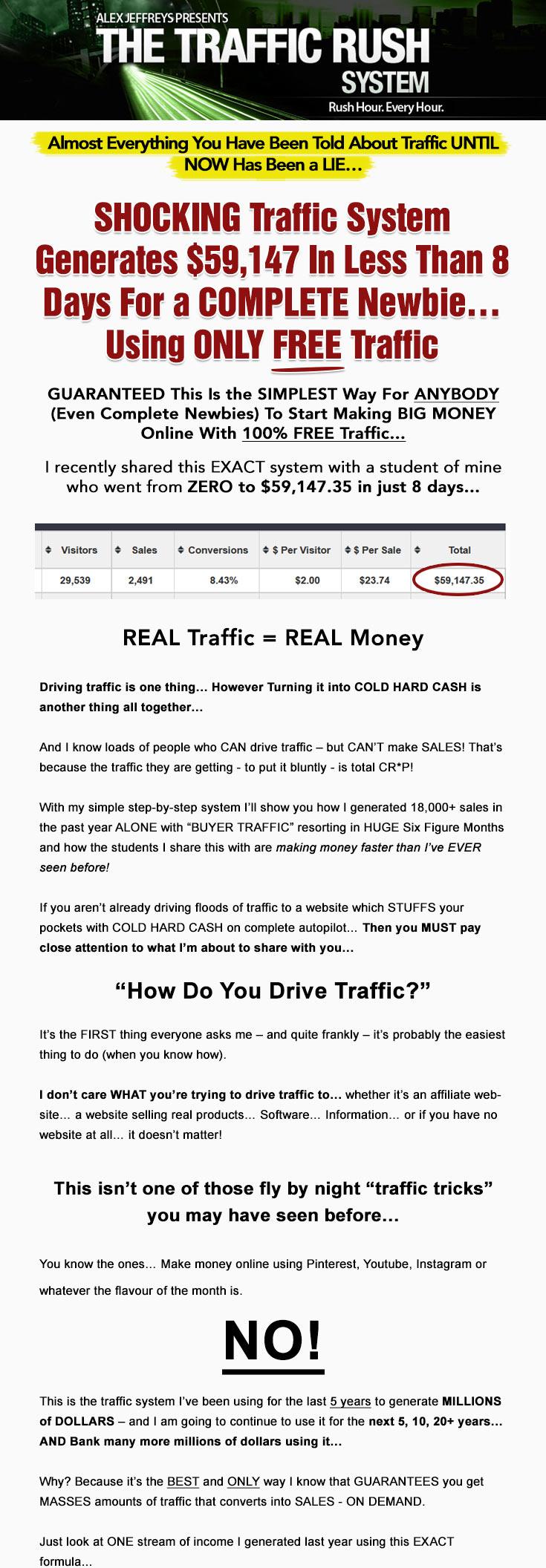 Traffic Rush System by Alex Jeffreys – Value $9.95