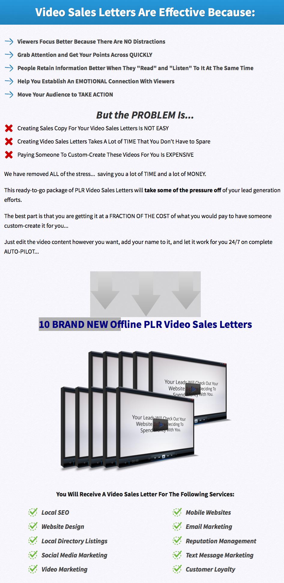 Offline Video Sales Letters PLR Pack