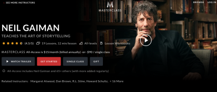 Neil Gaiman – Teaches The Art Of Storytelling – Value $90